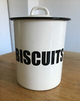 VINTAGE STYLE ENAMEL BISCUIT TIN WITH LID CREAM BLACK VGC