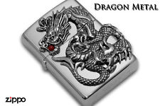 Zippo Dragon 2-side Metal Red Coral Japan Limited F/S Oil Lighter Silver Satena