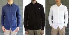 Long Sleeve Button-Front Solid 100% Cotton Casual Shirts for Men