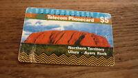 OLD AUSTRALIAN TELECOM PHONECARD, $5 AYRES ROCK NT