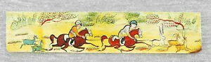 """ORIENTAL  ANTIQUE MINIATURE HAND PAINTING GOUACHE YELLOW MATERIAL """"HUNTING SCENE"""