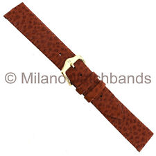 18mm Hirsch Tan Brown Textured Genuine Saddle Leather Mens Watch Band Regular