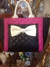 NWT Betsey Johnson Large Quilted Pink Black White with Bow and Adjustable Strap
