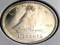 1937 Canada Ten 10 Cent Silver Dime Canadian George VI Whizzed Coin L021