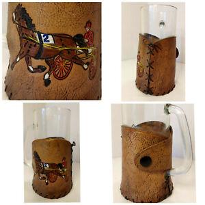 Vtg Horse Harness Racing Tooled Leather Wrapped Drinking Mug Sulky Jockey 12 oz.