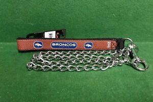 NFL 🏈 Denver Broncos Football Leather Strap Chain Leash Dog/Cat🐾 Large