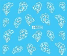 Nail Art Stickers Water Decals Transfers White Mono Design Flowers (B034)
