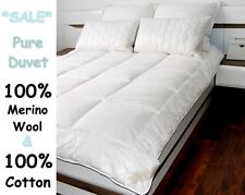 MERINO WOOL PURE DUVET QUILT  - 100% NATURAL ,  ALL SIZES 500gsm IDEAL GIFT