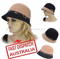 Ladies Bucket Cloche 20s Flapper Party Chemo Hair Loss 100% Pure Wool Felt Hat