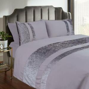Crushed Velvet Duvet Quilt Cover With Pillowcase Bedding Set Silver Grey