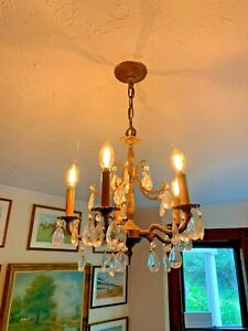 Antique Chandelier Early 20th C Spanish Spain Crystals Solid Brass/Bronze WOW!!