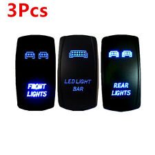 4x4 Offroad SUV Laser Rocker Switch Backlit Car Roof LED Light Bar Blue 5 Pins