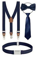 4er Set Kinderhosenträger mit Fliege Gürtel +Krawatte Kinder Hosenträger Jungen