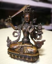 Antique Man~jus/ri^ Old Tibetan Buddhism Bronze Kwan-yin Buddha Manjushri Statue