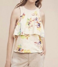Anthropologie Meadow Rue Cantara Tank Floral Tiered Ruffle Top Small Keyhole