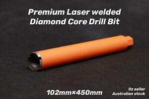 "Premium Laser welded Diamond Core Drill Bit 102mm x 450mm  1-1/4"" NUC"