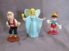 New Vintage 1990's Rare Disney Pvc Figure Lot Pinocchio, Geppetto, & Blue Fairy