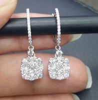 DEAL! 1.15CT NATURAL ROUND DIAMOND CUSHION DROP DANGLE EARRINGS 14K GOLD