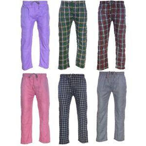 Mens Pyjama Bottom Cotton Woven Check Pyjama Sleeping PJs Bottom Sleepwear S-2XL