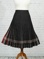 Calf Length Wool Check Plus Size Skirts for Women