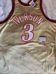 Allen Iverson Signed 1997-98 Gold Mitchell & Ness HWC Swingman Jersey