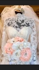 Wedding Bridal Brooch Bouquet Vintage Style Ivory Peach Unique Luxury Handmade