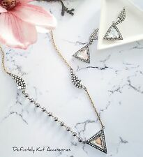 White triangle crystal cluster & pearl vintage sweater necklace & earring set