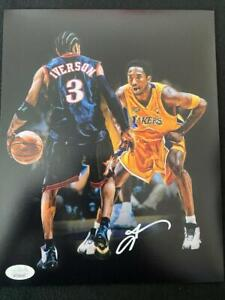 "ALLEN IVERSON VS KOBE AUTOGRAPHED PHILADELPHIA 76ERS 8X10 PHOTO ""MUST SEE"""