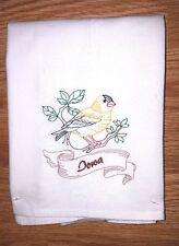 STATE BIRD-IOWA-EASTERN GOLDFINCH EMBROIDERED FLOUR SACK DISH TOWEL