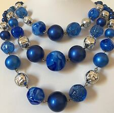Faux Blue Pearl Vintage Necklace Multi Three Strand Chunky Bead Silver Tone 50s