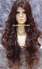 "36"" Long Wavy Layered Black Auburn Mix Full Lace Front Wig Heat Ok Hair Piece"