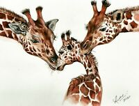 PRINT FROM original painting watercolour giraffes family/ animal/ wildlife art.