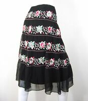 LAUNDRY BY SHELLI SEGAL EMBROIDERED PEASANT Layered SKIRT SIZE 12 BLACK floral