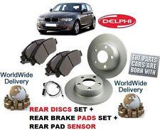 FOR BMW 1 SERIES  118 120  2007-> REAR BRAKE DISCS + DISC PADS SET + PAD SENSOR