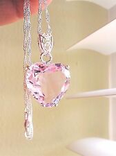 Pink Topaz Crystal Pendant Sterling Silver Necklace Chunky Heart Fashion Chain