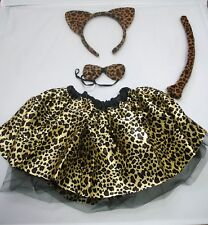Girls Leopard Print Tutu Set Ears Tail & Bow Tie Instant Animal Kit Fancy Dress