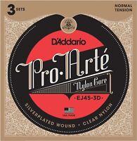 3 Sets D'Addario EJ45-3d Pro-Arté Normal Tension Classical Guitar Strings