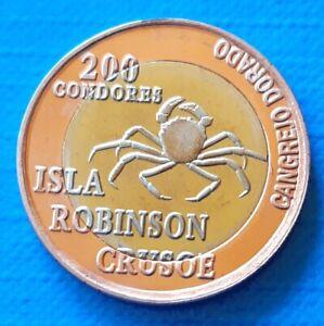Robinson Crusoe Island 200 condores 2014 UNC Golden Crab Bi-metallic
