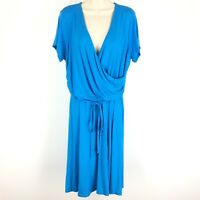 Lands End Dress Faux Wrap Jersey Fit and Flare Surplice Short Sleeve Blue 14W
