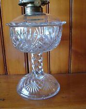 """c1890's Clear Eapg Pineapple & Fan Pattern Glass Pedestal Oil Kerosene Lamp 8½"""""""