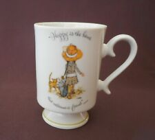 Holly Hobbie Vintage Coffee Cup Mug Footed Porcelain 1973 Happy is the Home