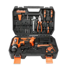 46Pcs Home Repair Hand Hardware Tool Set Cordless Drill+Charger+Wrench Orange