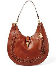 Lauren Ralph Lauren $498 Ashfield Abree laced Hobo bag purse leather field brown