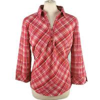 Per Una M&S Size 16 Pink White Orange Check Blouse 3/4 Sleeve NEW BNWT £25
