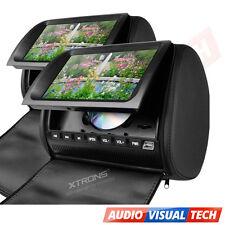 "2x In Car Headrest Twin Dual Monitor DVD Player 9"" Digital Screen USB/SD BLACK"