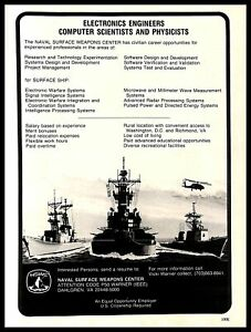 1985 Naval Surface Weapons Center Electronics Engineer Careers Vintage PRINT AD
