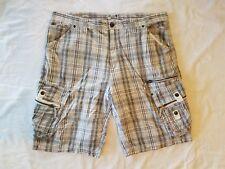 Division E Men's Size 42 White Black Plaid Cargo Shorts