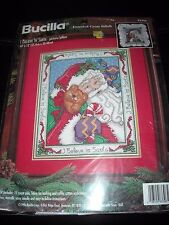 "Nip 1996 Bucilla Counted Cross Stitch ""I Believe In Santa"" Picture/Pillow Kit"