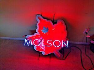 "VINTAGE ""MOLSON NEON"" LIGHT UP SIGN W/ JOHN MOLSON SIGNATURE (RARE)"