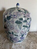 Vintage Chinese Floral Ginger Jar Urn With Lid Porcelain Pink Green Vines 12 1/2